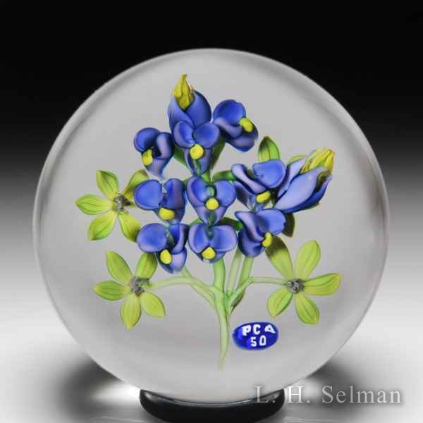 Ken Rosenfeld 2003 Paperweight Collectors Association 50th Anniversary bluebonnet flowers paperweight. by Ken Rosenfeld