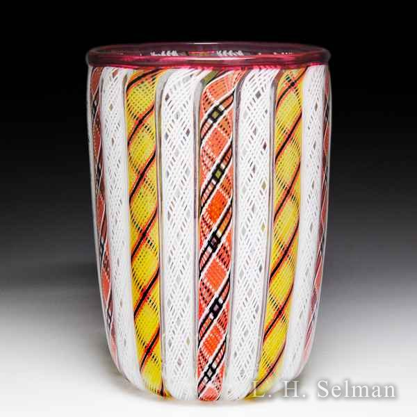 Mike Hunter 2018 Zanfirico alternating orange and white ribbon tumbler. by Twists Glass Studio