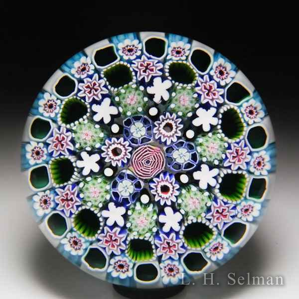 Damon MacNaught 2018 close concentric millefiori and rose glass paperweight. by Damon MacNaught