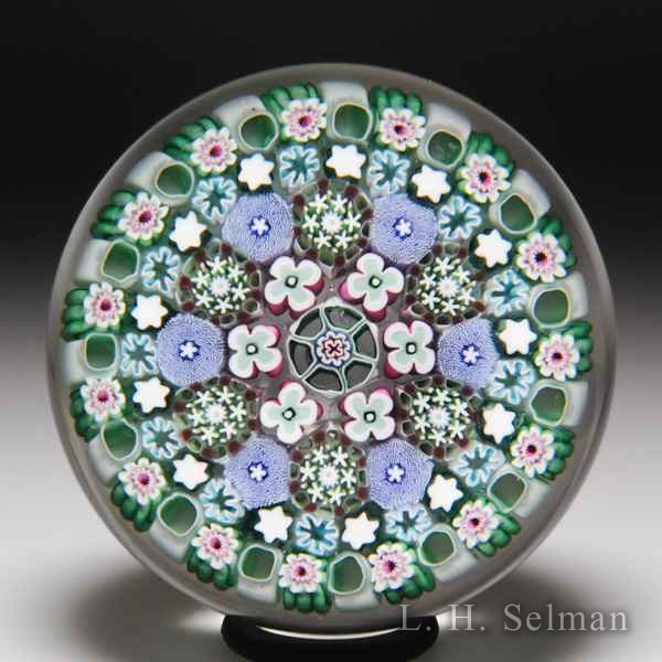Damon MacNaught 2019 close concentric millefiori paperweight. by Damon MacNaught
