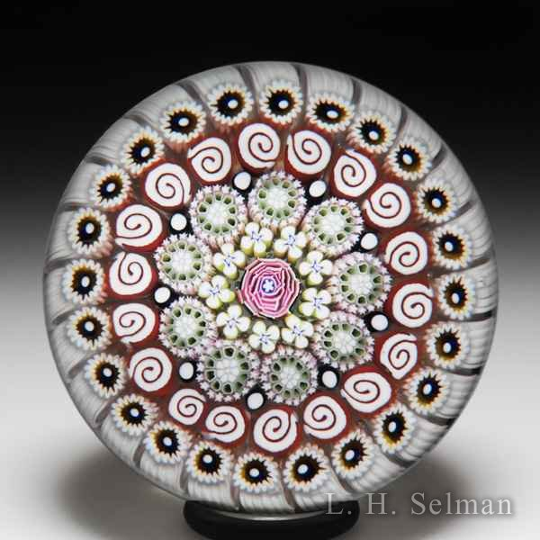 Damon MacNaught 2019 close concentric millefiori and rose glass paperweight. by Damon MacNaught