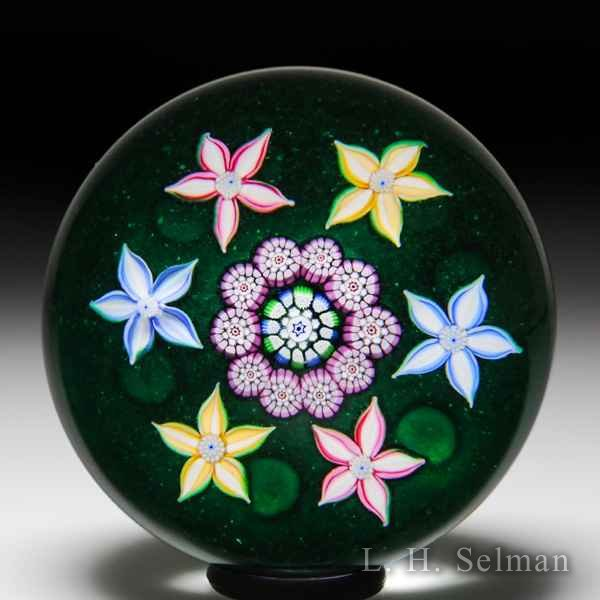 John Deacons and William Manson 2006 collaborative clematis garland millefiori paperweight. by John Deacons