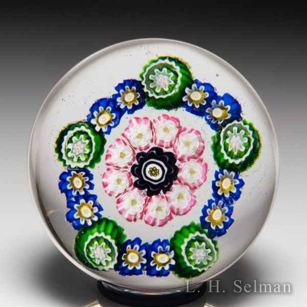 Antique Clichy concentric millefiori and roses miniature glass paperweight. by  Clichy