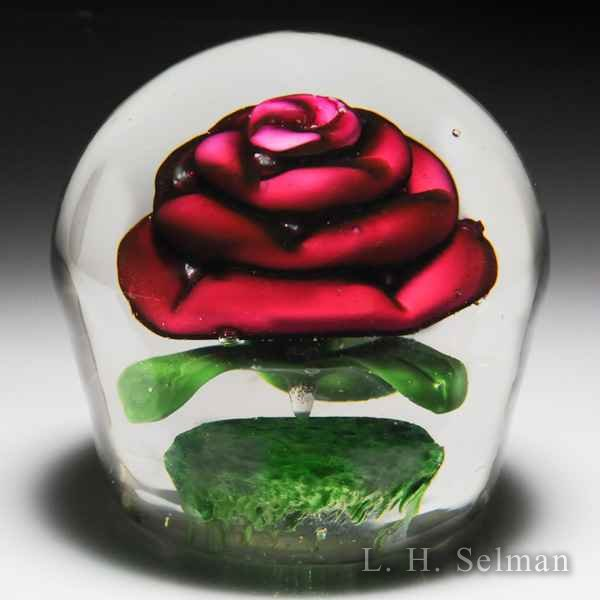 Unidentified upright pink rose paperweight. by Misc Modern