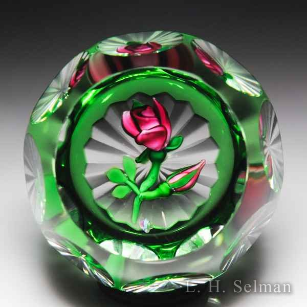 Perthshire Paperweights (1980) rose overlay faceted glass paperweight. by  Perthshire Paperweights
