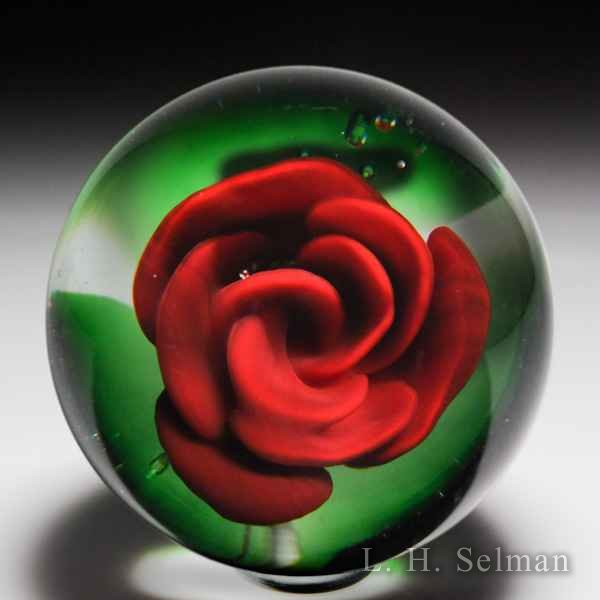 Antique Millville red crimp rose paperweight. by  Misc Antique