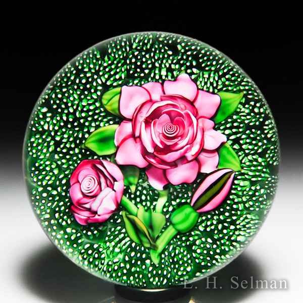 Ken Rosenfeld 1989 roses on moss ground glass paperweight. by Ken Rosenfeld