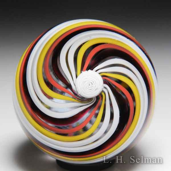 Mike Hunter 2014 rose and swirl miniature glass paperweight. by Twists Glass Studio