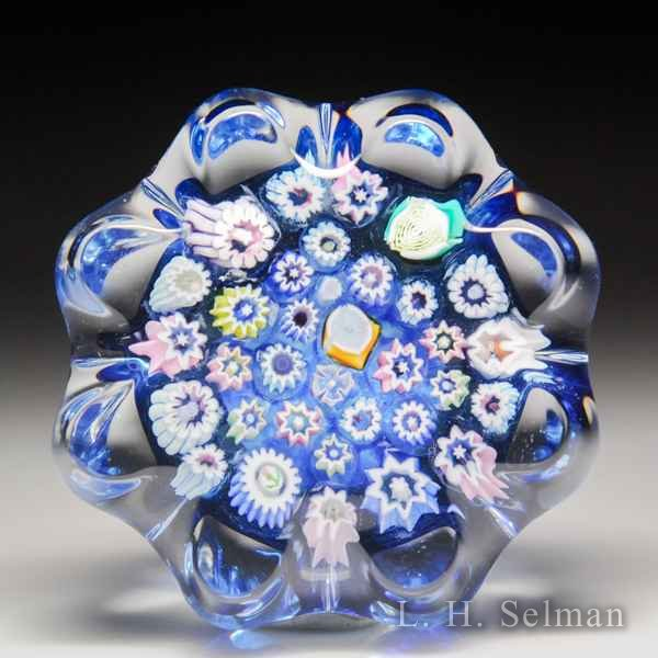 John Deacons (2019) spaced millefiori daisy-pressed miniature glass paperweight. by John Deacons