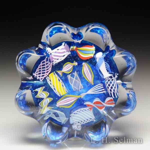 John Deacons (2019) end-of-day scrambled latticinio daisy-pressed miniature glass paperweight. by John Deacons