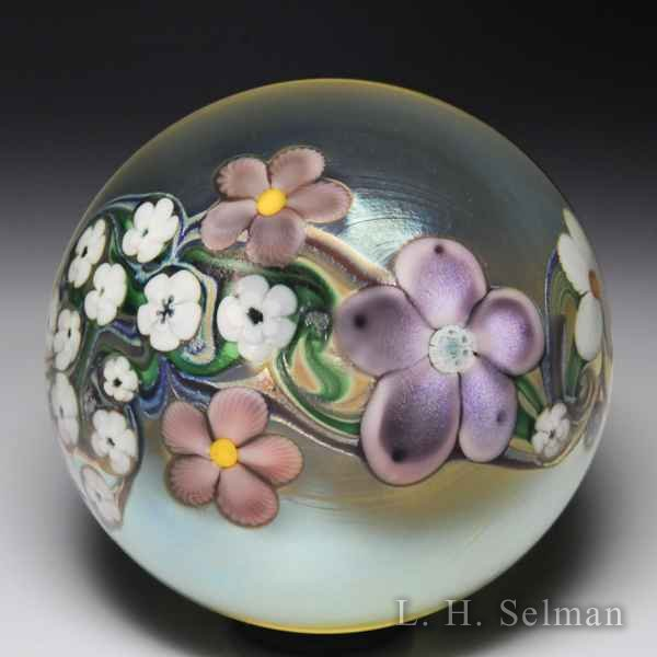 Orient & Flume 1983 'Floral Cascade' flowers and vines surface design paperweight. by  Orient & Flume