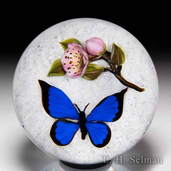 Victor Trabucco 2000 cobalt blue morpho butterfly and rose glass paperweight. by Victor Trabucco