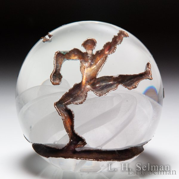 Andrew Fote 'Rain Dance' copper inlay paperweight. by Andrew Fote