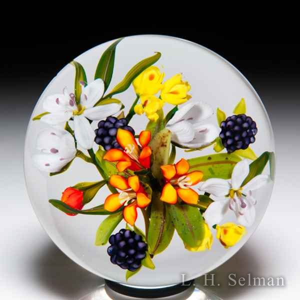 Paul Stankard 1987 Pine Barrens blackberry and blossom bouquet glass paperweight. by Paul Stankard*