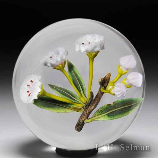 Paul Stankard 1991 mountain laurel flowers on a branch glass paperweight. by Paul Stankard*