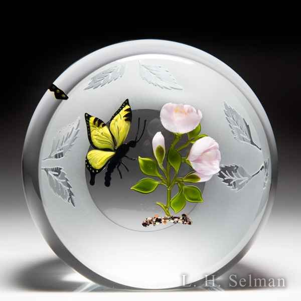 Victor Trabucco 1992 swallowtail butterfly and pink roses upright frosted faceted glass paperweight. by Victor Trabucco