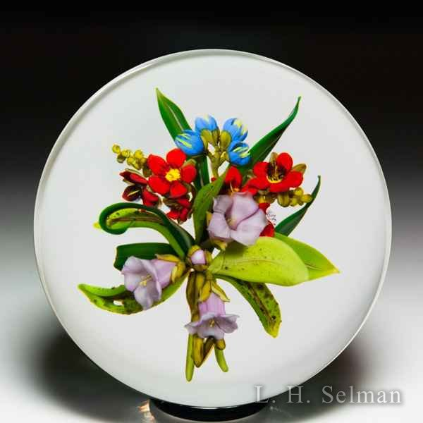 Paul Stankard 1986 'Arbutus Bouquet' pink, blue and red blossoms glass paperweight. by Paul Stankard*