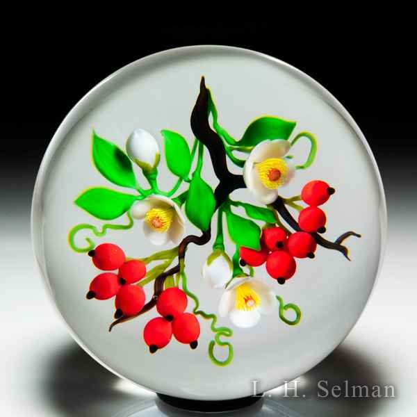 Victor Trabucco 1989 Oriental bouquet with red berries and white blossoms magnum glass paperweight. by Victor Trabucco