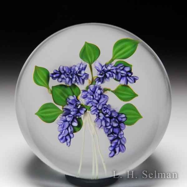 Paul Stankard 1979 Experimental lilac and roots glass paperweight. by Paul Stankard*