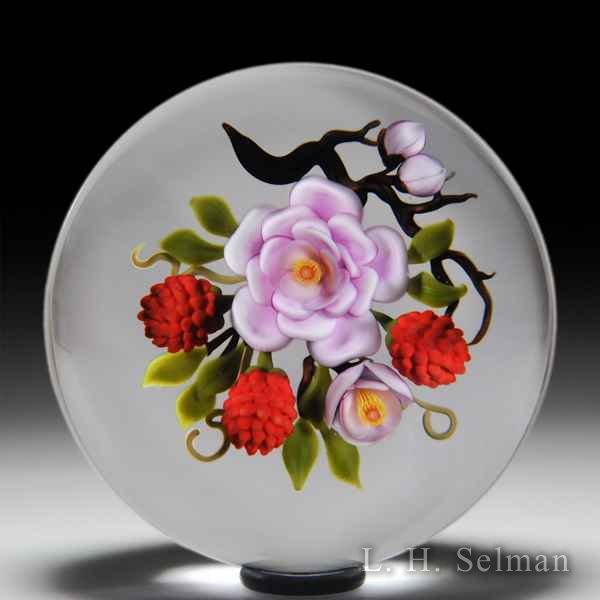Victor Trabucco 1989 satin pink rose and red raspberries magnum glass paperweight. by Victor Trabucco