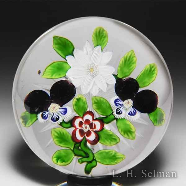 Antique Baccarat four-flower bouquet with pansies, clematis and primrose glass paperweight. by  Baccarat Antique