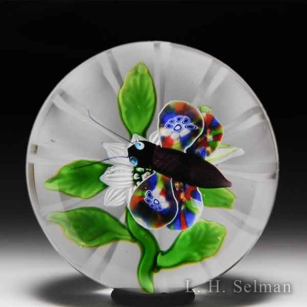 Antique Baccarat millefiori butterfly over clematis glass paperweight. by  Baccarat Antique