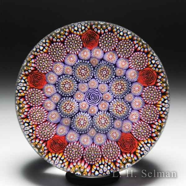 Mike Hunter 2019 close concentric pink millefiori and roses glass paperweight. by Twists Glass Studio