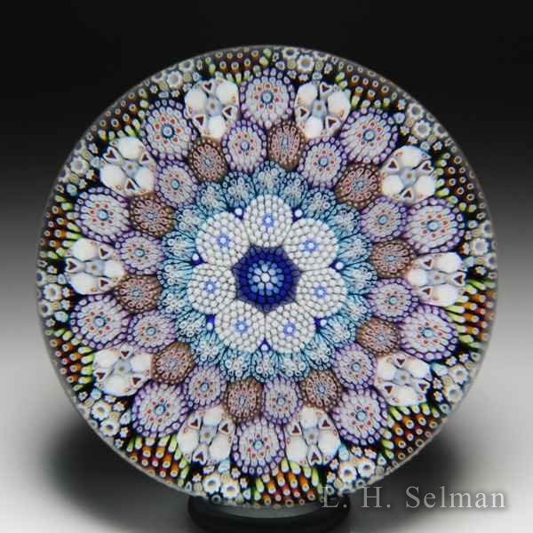Mike Hunter 2019 close concentric millefiori and rod bundle glass paperweight. by Twists Glass Studio