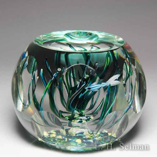 Perthshire Paperweights 1980 'Fish' underwater scene faceted glass paperweight. by  Perthshire Paperweights