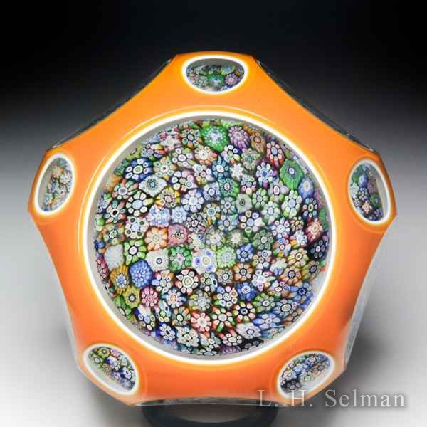 Perthshire Paperweights 1981 close packed millefiori double overlay faceted paperweight. by  Perthshire Paperweights