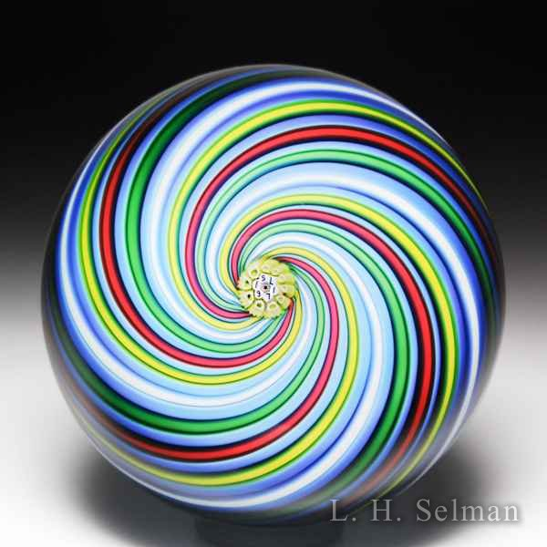 Saint Louis 1971 five-colored swirl glass paperweight. by Modern Saint Louis