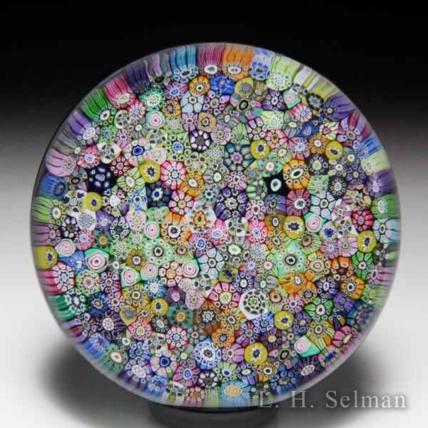 Perthshire Paperweights 1973 'Closepacked Millefiori' on purple cushion glass paperweight. by  Perthshire Paperweights