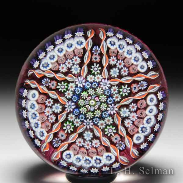 Perthshire Paperweights 1978 star-patterned millefiori glass paperweight. by  Perthshire Paperweights