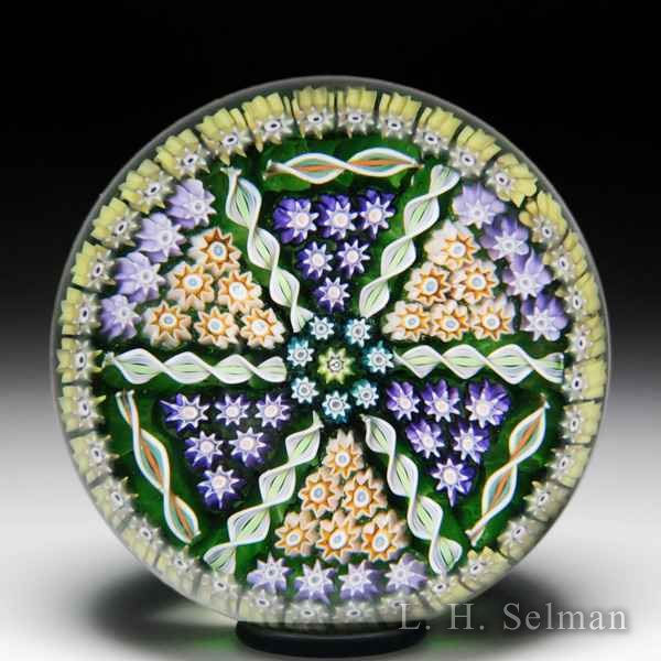 Perthshire Paperweights triangular panel patterned millefiori and twists glass paperweight. by  Perthshire Paperweights