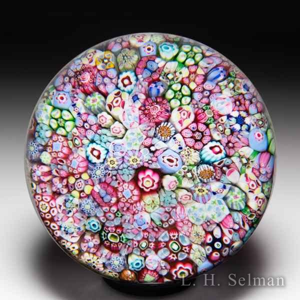 Baccarat (presumed 1958) zodiac 'Church Weight' close packed millefiori and '8' cane glass paperweight. by Baccarat Moderns