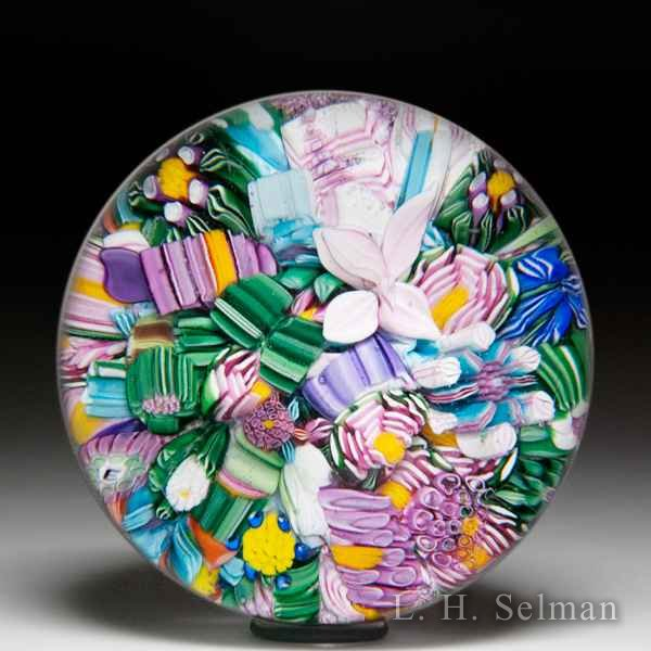 Drew Ebelhare & Sue Fox 2016 scrambled millefiori and flower glass paperweight. by Drew Ebelhare & Sue Fox