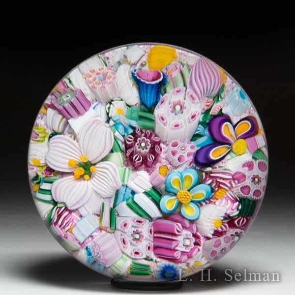 Drew Ebelhare & Sue Fox 2019 scrambled millefiori and flowers glass paperweight. by Drew Ebelhare & Sue Fox