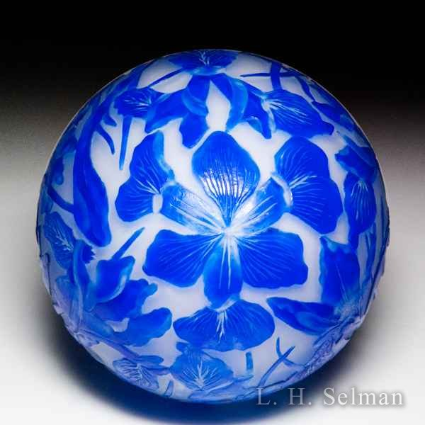 Cathy Richardson 2018 'Dutch Iris' engraved surface design glass paperweight. by Cathy Richardson*