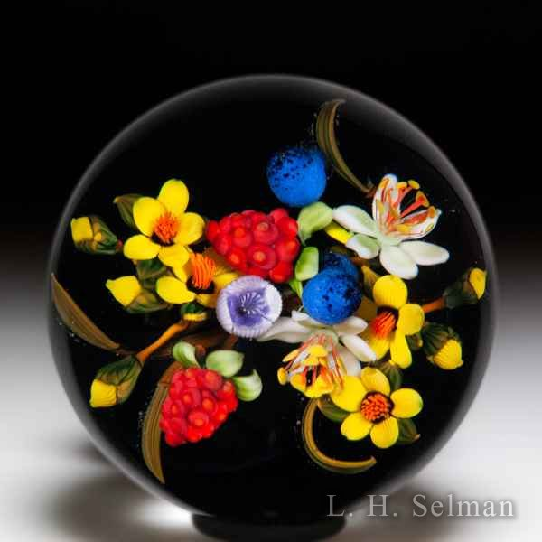 Mayauel Ward 2019 blooms and red berries pedestal glass paperweight. by Mayauel Ward