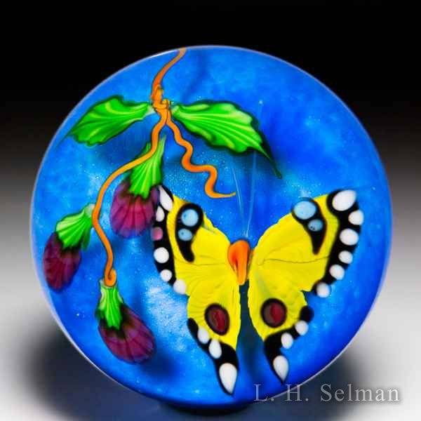 Mayauel Ward 2019 yellow butterfly and pink flowers compound paperweight. by Mayauel Ward