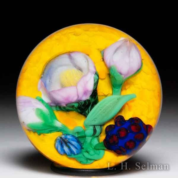 Chris Sherwin 2019 Prototype flower miniature glass paperweight. by Christopher Sherwin