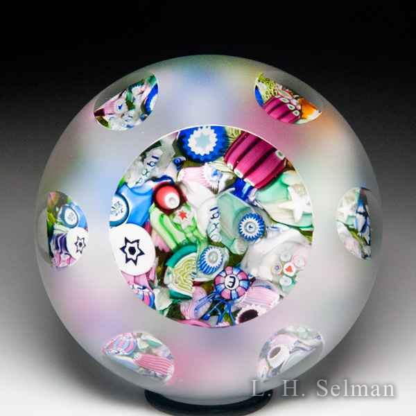 John Deacons end-of-day scrambled millefiori frosted faceted glass paperweight. by John Deacons