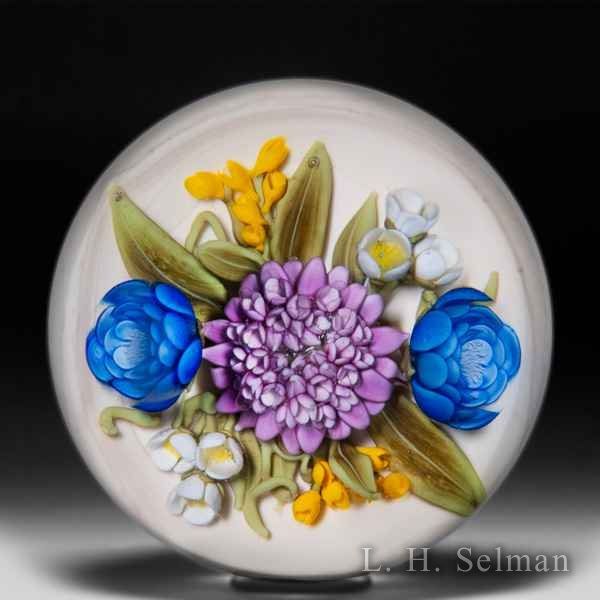 Clinton Smith 2019 purple cornflower and blue roses glass paperweight. by Clinton Smith