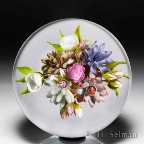 Gordon Smith 2019 succulent and rose bouquet paperweight. by Gordon Smith