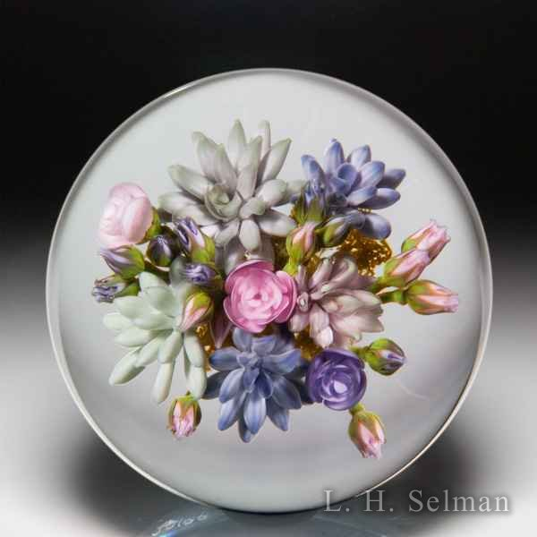 Gordon Smith 2019 succulent and rose bouquet glass paperweight. by Gordon Smith