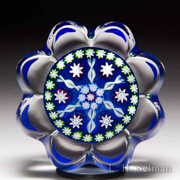 Perthshire Paperweights radial twists patterned millefiori daisy-pressed miniature paperweight. by  Perthshire Paperweights