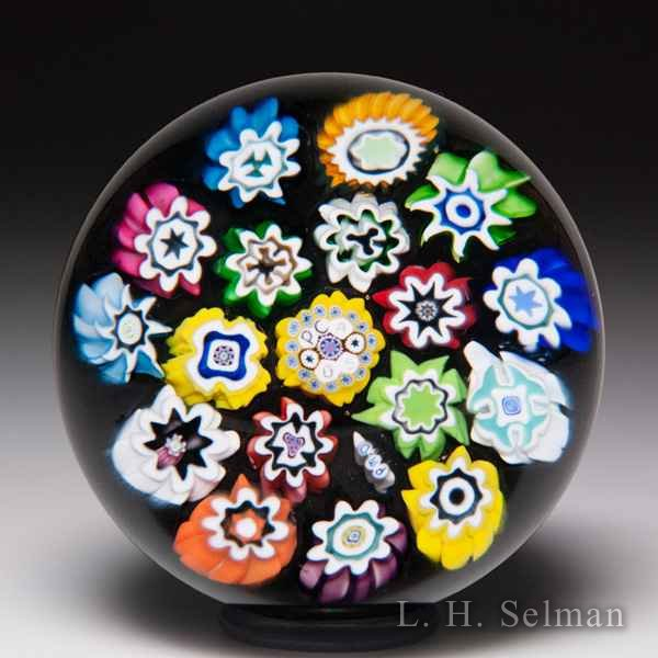 Peter McDougall 2005 PCA concentric millefiori miniature paperweight. by Peter McDougall