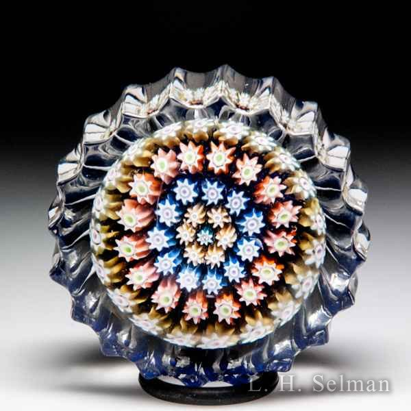 Perthshire Paperweights (1985-1997) concentric millefiori fluted miniature paperweight. by Perthshire Paperweights