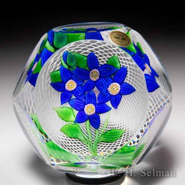 Saint Louis 1977 four blue flowers faceted glass paperweight. by  Saint Louis Moderns
