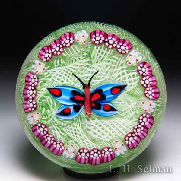 John Deacons 2011 blue butterfly on upset muslin paperweight. by John Deacons